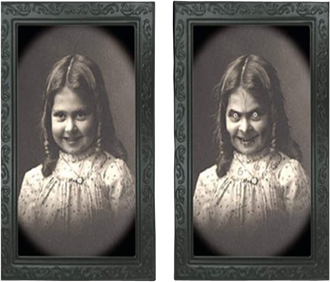 Elaine Room 3D Photo Frame Horror Ghost Lenticular Morphing Changing Moving Face Zombie Vampire Theme Halloween Party Home Decor Decoration Ornanments Wall Picture Haunted Spooky Black (W)
