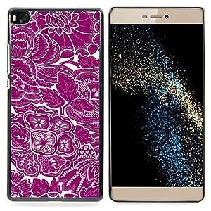 """Qstar Arte & diseño plástico duro Fundas Cover Cubre Hard Case Cover para Huawei Ascend P8 (Not for P8 Lite) (Papel pintado floral blanco púrpura florece el arte"""")"""