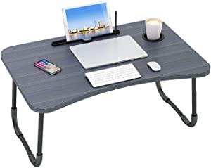Ruitta Laptop Bed Tray Table, Flodable Lap Desk Stand, Laptop Desk with Cup Holder & Pen Slot, Notebook Stand Reading Holder, Bed Desk Tray Breakfast Tray for Bed Couch Sofa Floor (Black)