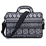Meffort Inc 15 15.6 inch Water Resistance Neoprene Laptop Briefcase Bag Carrying Case - Black Gary Pattern A