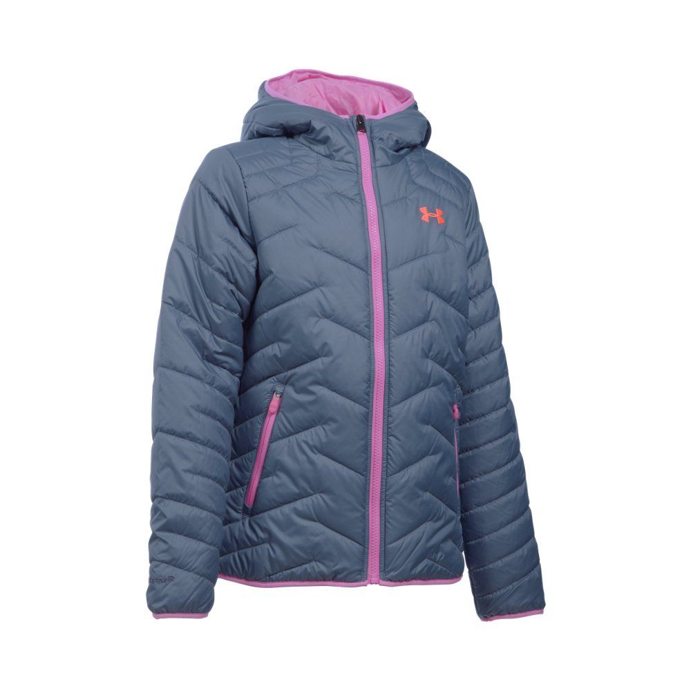 Under Armour Girls' ColdGear Reactor Hooded Jacket, Aurora Purple/Verve Violet, Youth Small by Under Armour