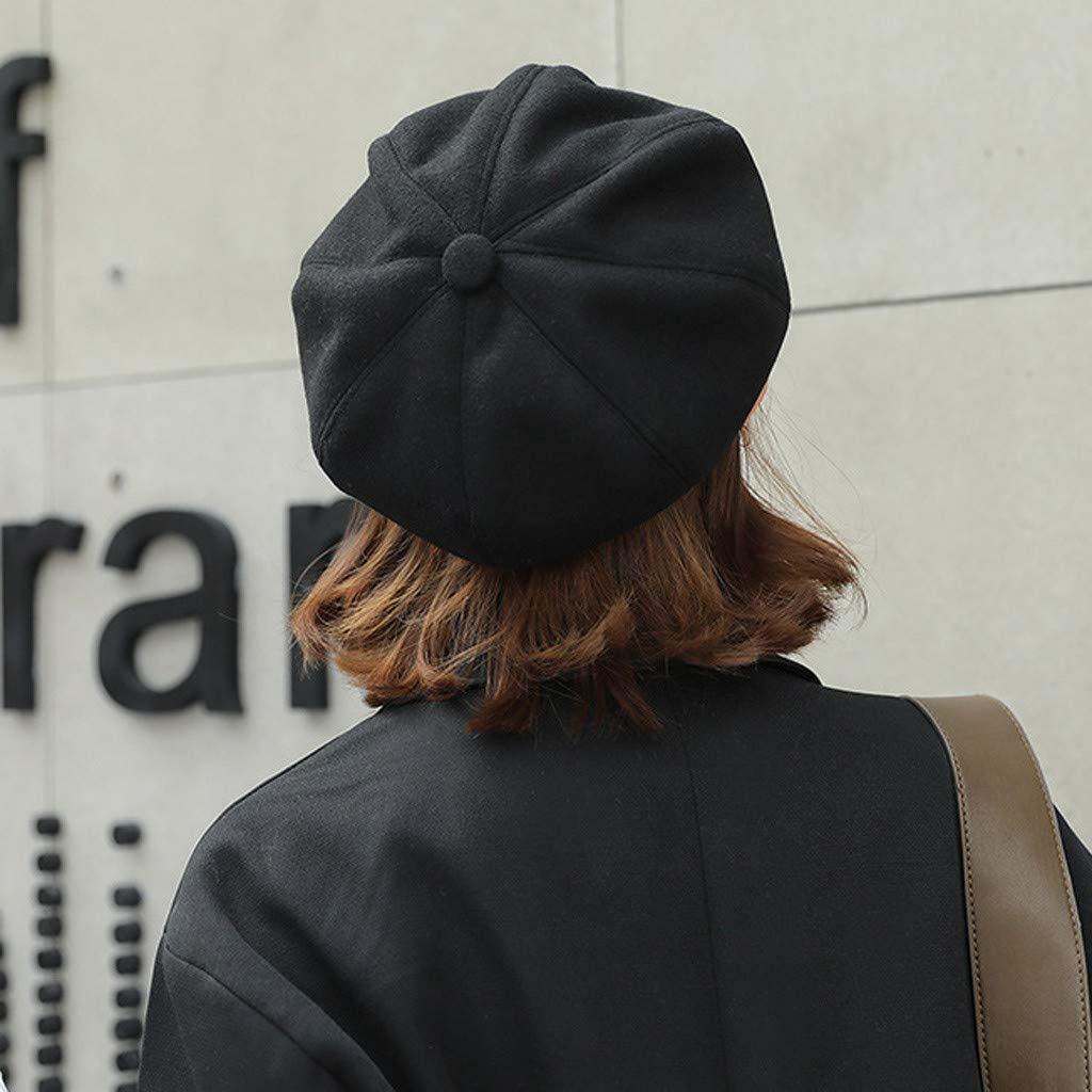 Theoylos Womens Autumn Winter Knit Hat Fashion Plush Beret Hat Ladies Warm Plus Velvet Newsboy Caps