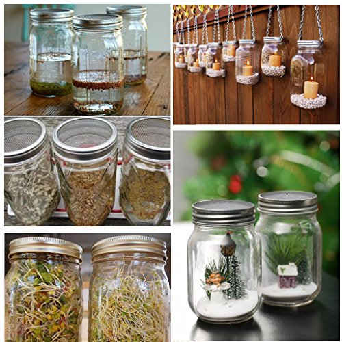 SUMNACON Sprouting Jar Lids Kits - Stainless Steel Sprouting Lids and Sprouting Stands With Water Tray For Wide Mouth Mason Jars,Sprouting Jar Lid Kit For Making Broccoli/Lentil/Bean Sprouts