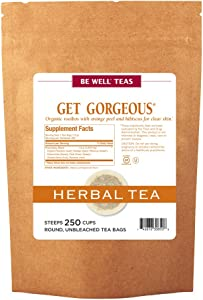 The Republic of Tea Be Well Teas No. 1, Get Gorgeous Herbal Tea For Clear Skin, Refill Pack of 250 Tea Bags