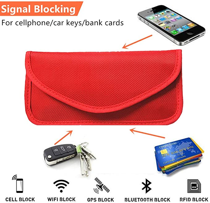 Faraday Bag Cell Phone Signal Protection Pouch to Prevent Hacking of Your Mobile Phone Electronic Car Keys and Bank Card and Prevent GPS Tracking Protect Your Privacy.