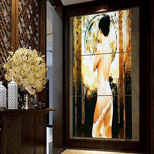 Extra Large Abstract Art Work Sexy Beauty Naked Pictures Impression Figure Painting on Canvas 3 Panel Nude Girls Wall Decor Vintage Home Decoration for Living Room Framed Ready to Hang(28''Wx60''H)