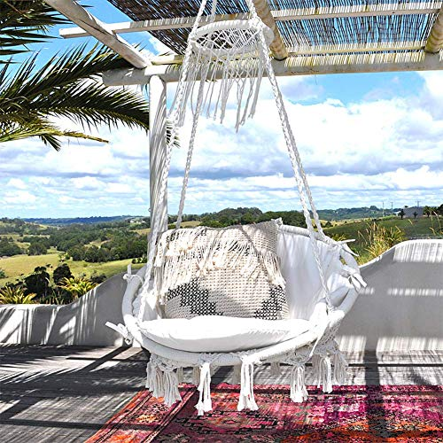 Sonyabecca Hanging Chair Macrame Hammock Swing Chair Large Size wih Top CircleTassels 265 Pound Capacity Handmade Knitted Hangingfor Indoor/Outdoor Home Patio Deck Yard Garden Reading Leisure Lounging (Chair Pad Papasan)