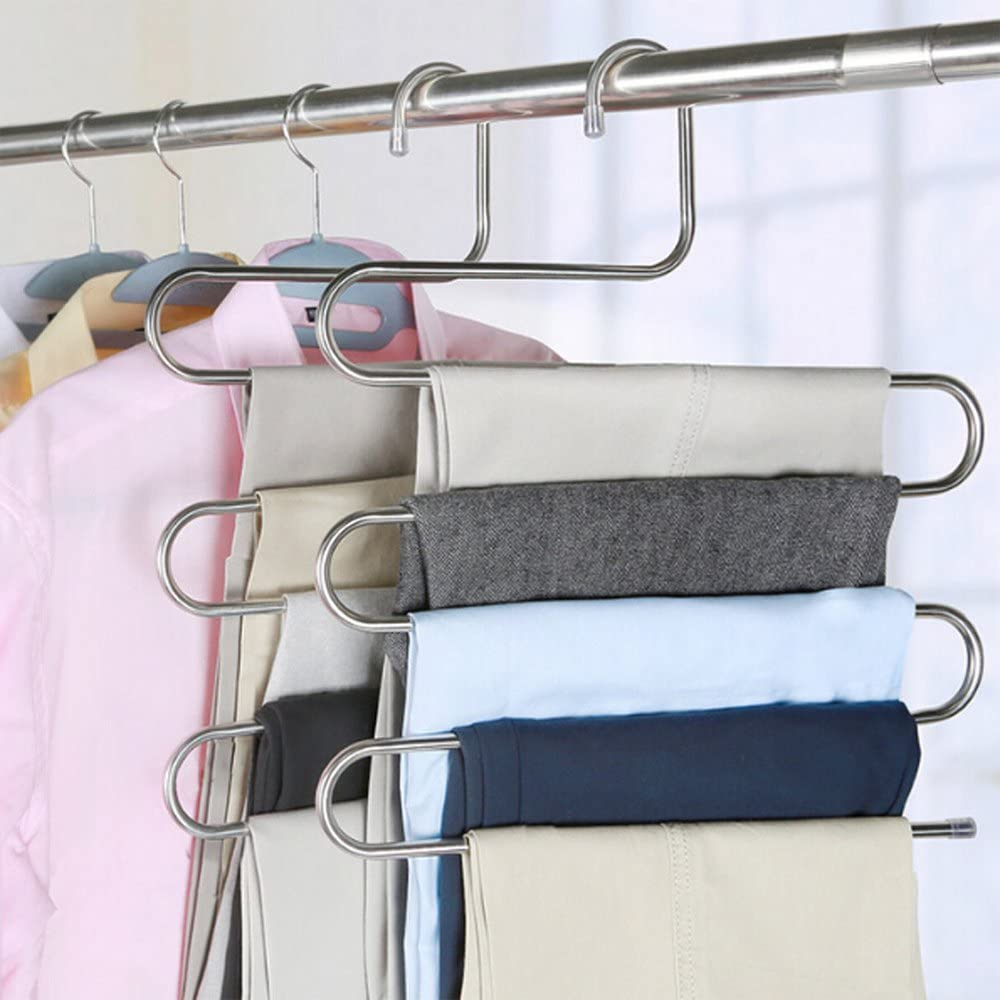 S-type Magic Pants Hangers Closet Trouser Hangers Stainless Steel Space Saver Jeans Scarf Tie Storage Rack