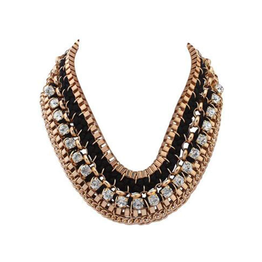 TD N1735 Women's Wide Necklace, Weaving Multi-Layer Clavicle Necklace Fashion Personality Square Flash Drilling Female Accessories (Color : B)