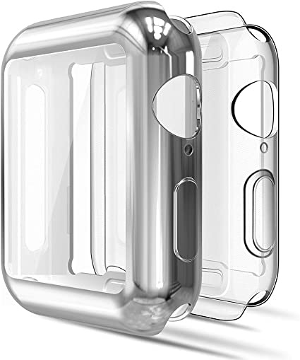 Simpeak Soft Screen Protector Bumper Case Compatible with Apple Watch 44mm Series 5 Series 4, Pack of 2, All Around, Clear/Silver