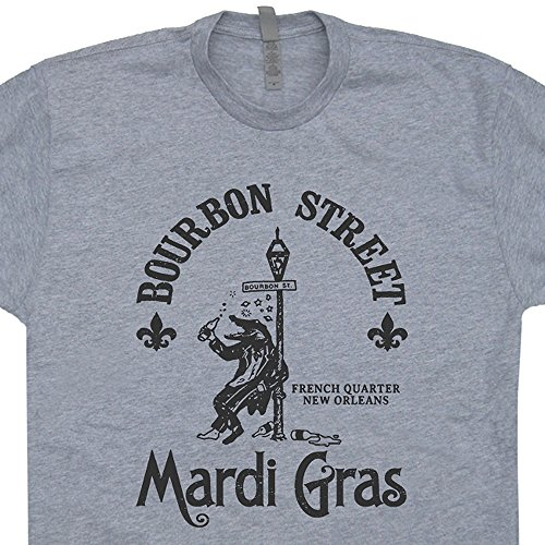 XXXL - Mardi Gras T Shirt Alligator Shirts Gators Drinking Beer New Orleans Vintage Bar Pub Tee Retro Graphic Louisiana Jazz Funny Burbon - Bourbon On New Orleans Street Shops