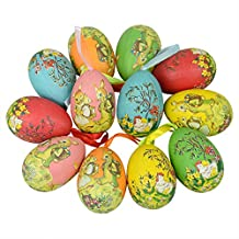 12pcs New Vintage Style Paper Mache Egg Hanging Ornaments Easter Decoration
