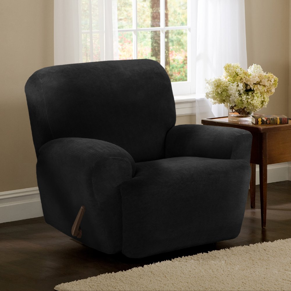 Amazon.com Maytex Collin Stretch 4PC Slipcover Black Recliner Home u0026 Kitchen : slipcovers for recliners with separate footrest - islam-shia.org