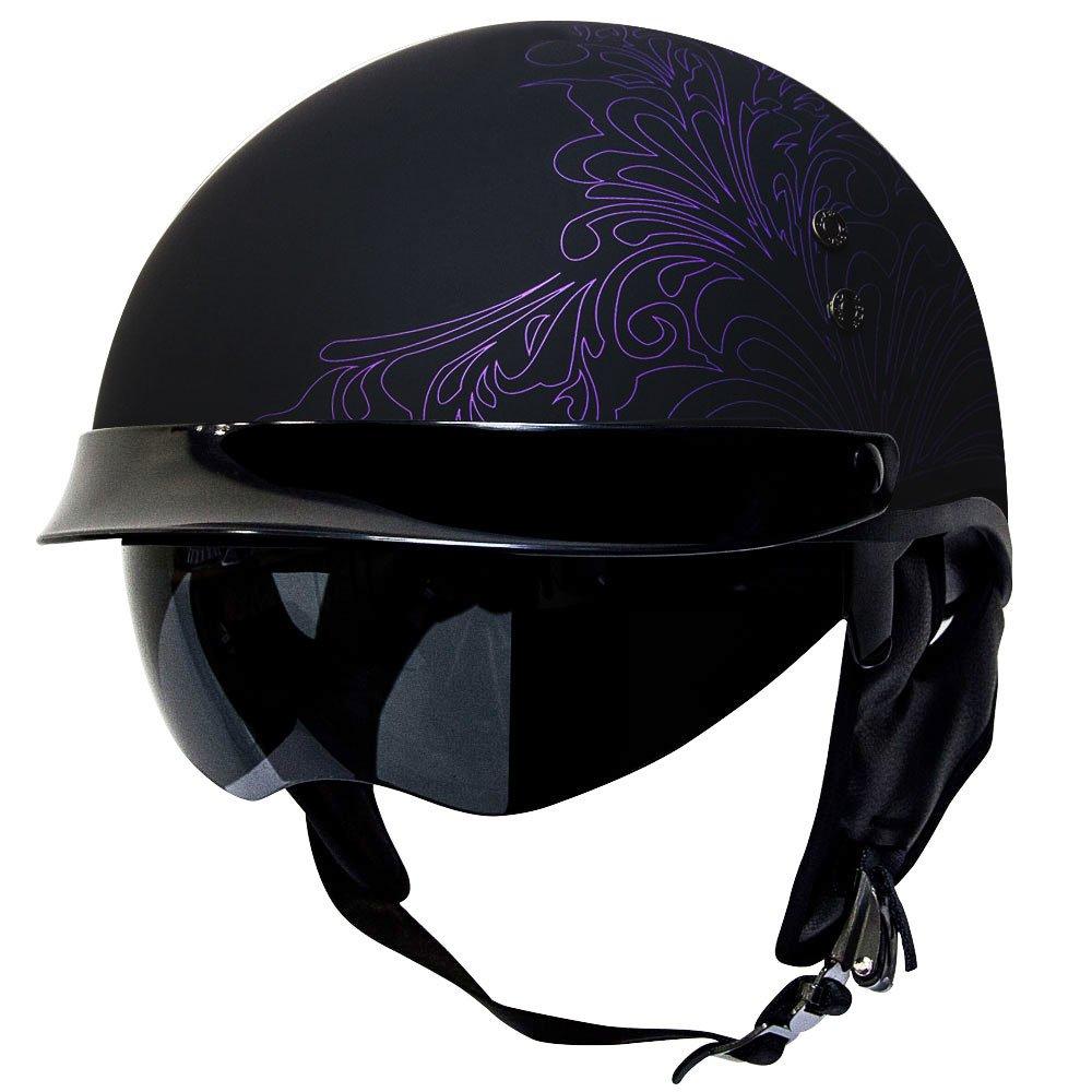 Voss 888FRP Paisley Graphic Hand Laid Fiberglass DOT Half Helmet with Drop Down Sun Lens - S - Matte Purple Voss Helmets 888-092