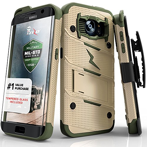 Price comparison product image Samsung Galaxy S7 Edge Case, Zizo [Bolt Series] w/[Galaxy S7 Edge Screen Protector] Kickstand [12 ft. Military Grade DropTested] Holster- S7 Edge G935