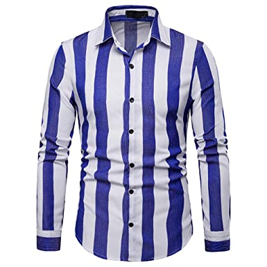 334eef0790e TOOPOOT-Store Men s 2019 Shirt Long Sleeve Casual Slim Fit Vertical Striped  Button Down Dress