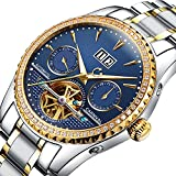 PASOY Carnival Men's Watch Automatic Mechanical Tourbillon Stainless Stell Date Blue Dial Diamond Watches