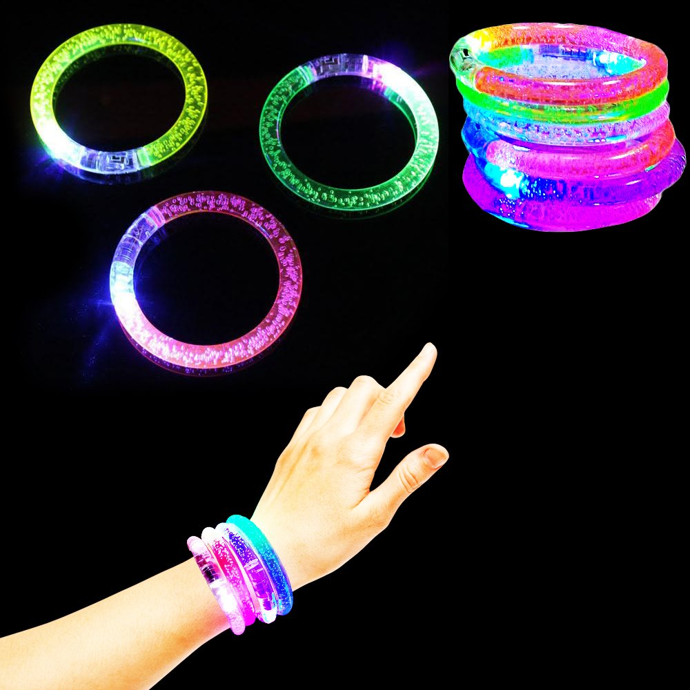 Toy Cubby Light-up Party Kids Adult Multi-colored LED Flashing Bracelet Glowing Bangles 6 pieces