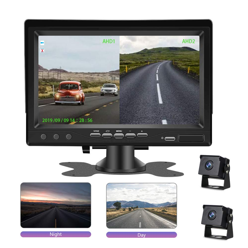 Support Loop Recording Split Screen for Trailers,Trucks,RVs,High-Speed Observation System Support Low-Light-Level Night Vision and Recording Digital Backup Camera with 7 DVR Monitor Kit