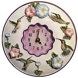 Hummingbird Clock, 8 Round, 3D Polystone- Hummingbird Wall Decor For Kitchen, Nursery, Bedroom, Patio, Bathroom, Office Hummingbird Decoration - Best Hummingbird Gift Idea, Hummingbird Decoration, Home Decor.