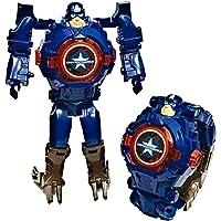 TRUVENDOR ENTERPRISES Avengers Iron Man Toy Convert to Digital Wrist Watch for Kids Deformation Watch Iron Man Figures Plus Watch ( Red ) (Captain America)