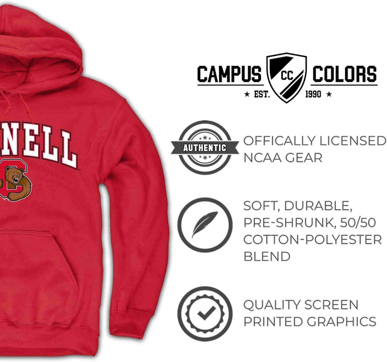 Campus Colors Cornell Big Red Arch /& Logo Gameday Hooded Sweatshirt Red,