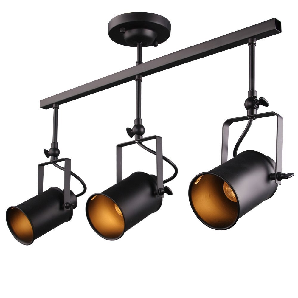 Rustic Adjustable Three Head LED Stage Spotlights Industrial Hanging Fixture Lamp Shade Indoor Home Bar Decor (3 Head)