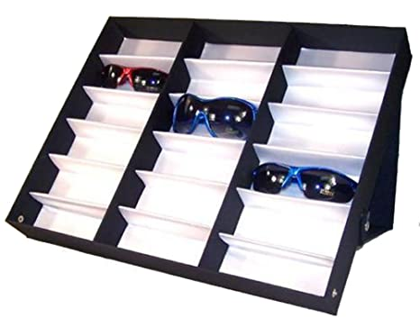 d447a3956a11 Amazon.com   18 PAIR HORIZONTAL SUNGLASS HOLDER DISPLAY SLOTTED TRAY WITH  STAND UP SNAP ON COVER   Everything Else