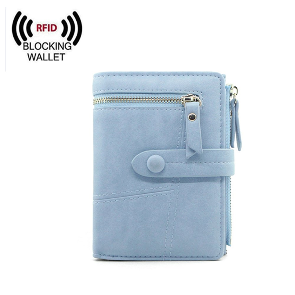Women Small Wallet RFID Blocking Leather Bifold Card Holder Zipper Coin Purse (Blue)