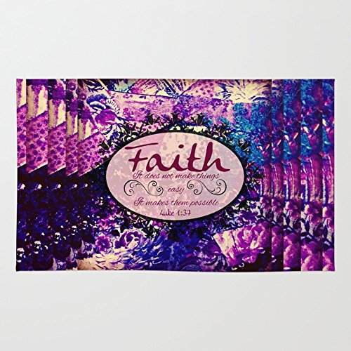 Society6 FAITH Colorful Purple Christian Luke Bible Verse Inspiration Believe Floral Modern Typography Art Rug 4' x 6'
