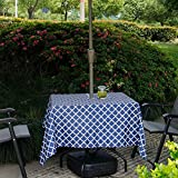 cheerfullus Waterproof Outdoor Tablecloth with Umbrella Hole,Stain Resistant Spillproof Elegant Moroccan Square Table Cover with Zipper for Patio Garden BBQ Tabletop Decor