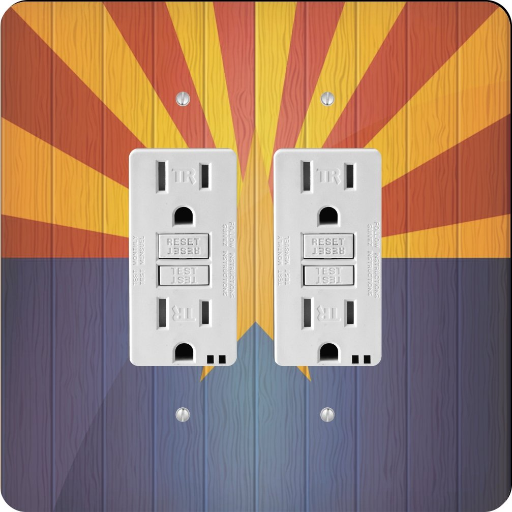 Rikki Knight 8615 Gfidouble America Flag On Distressed Wood Design Light Switch Plate