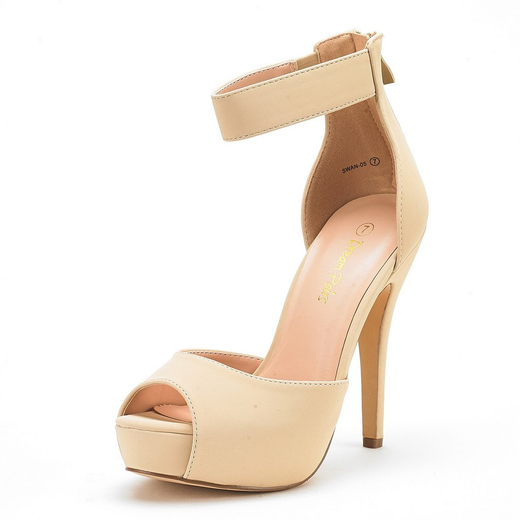 DREAM PAIRS SWAN-05 New Women's Ankle Strap Back Zipper Peep Toe High Heel Platform Pump Shoes,Nude Nubuck,7.5 B(M) US