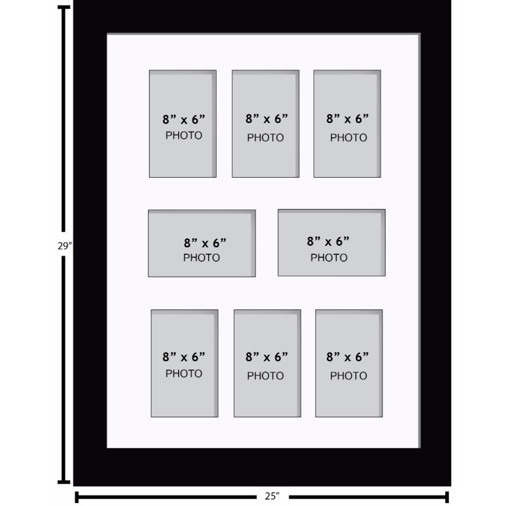 Multi App Photo Frame Silver-Holds 3 x 8/'/'X6/'/' Choose from 4 mount colours