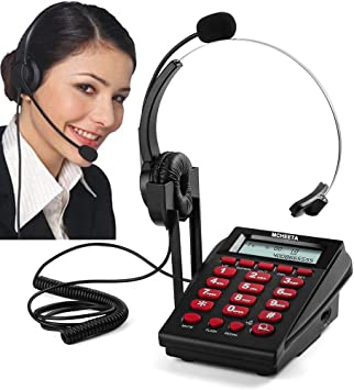 Amazon Com Corded Phone Headset Mcheeta Call Center Telephone Headset With Dialpad Noise Cancelling Phone Headsets For Office House Phones Electronics