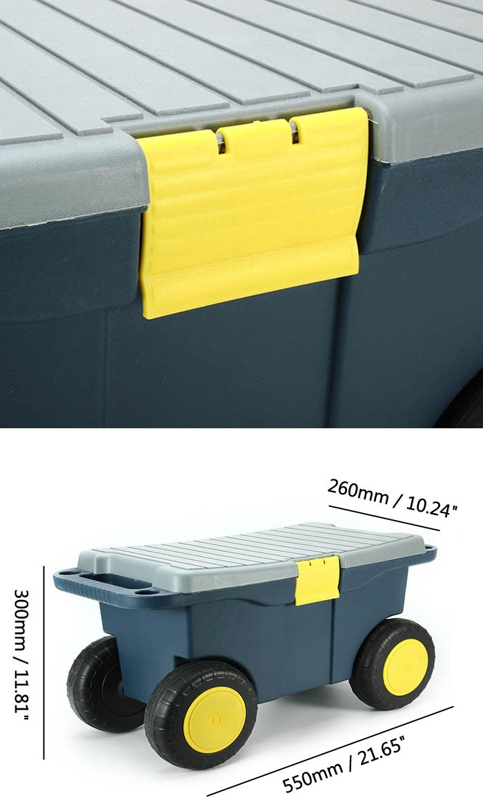 Removable Garden Tool Cart Seat 4 Wheels Plastic Tools Storage Container
