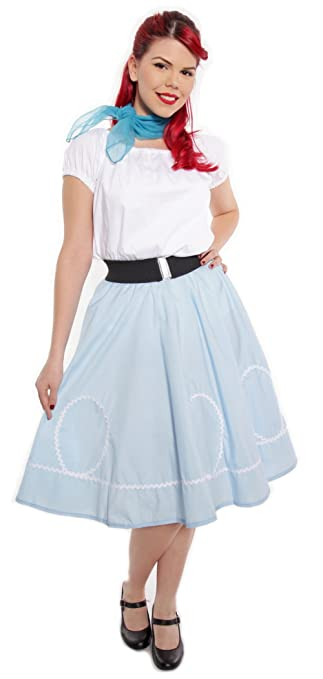 Retro Skirts: Vintage, Pencil, Circle, & Plus Sizes Blue & White Circle Swing Skirt - Retro Ric Rac Trim Rockabilly Twirl - S to XL $34.50 AT vintagedancer.com