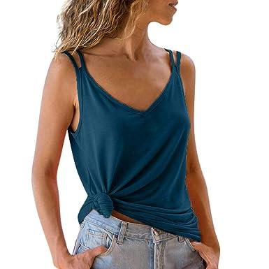 Damen V-Ausschnitt Plain Spitze Sleeveless Tank Tops Camisole Weste T-Shirt Tee