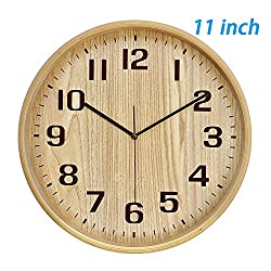 Classic Handmade Silent Wall Clock, T&HOME 11 Inches Quiet Wood Wall Clocks Battery Operated Simple Sweep No the tick-tock Decorative for Office, Home, Bedroom, Living Room & Kitchen, Natural color