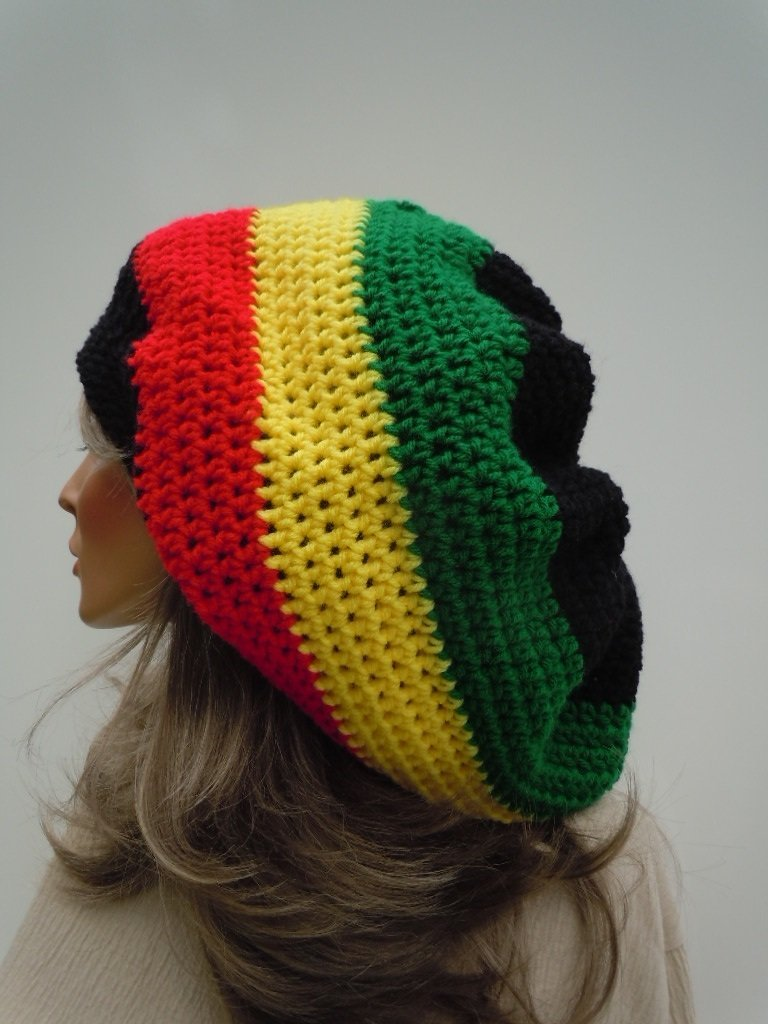 Hippie Hat Teal Green Tam Rasta Hat Teal Slouchy Jamaica Dreadlock Tam Teal Green Blue Cap Bag Hat Rasta Tam Cap