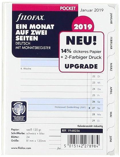 deutsch 2019 2 Seiten Filofax 19-68256 Pocket 1 Monat