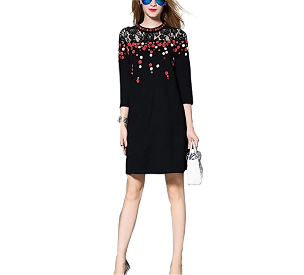 JUHGN New Women Embroidery Runway Dress Summer Fashion Lace Patchwork Vintage Casual Dress Plus Size Clothing