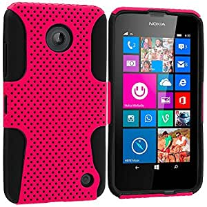 Accessory Planet(TM) Black / Hot Pink Hybrid 2-Piece Mesh Rugged Hard Silicone Soft Rubber Case Cover Accessory for Nokia Lumia 630 635 by lolosakes