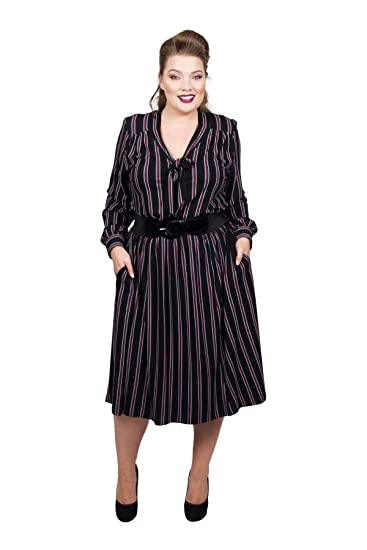 ef148004da5 Scarlett   Jo Pussy Bow Stripe Dress Sizes 10-32  Gifi Fields   Amazon.co.uk  Clothing