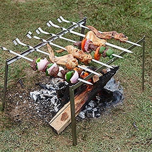 JZTRADING Brochettes pour Barbecue Brochettes Barbecue INOX Réutilisable Métal Brochette Kebab Brochettes en Métal Brochette Bâtons pour Shish Brochette 10pcs