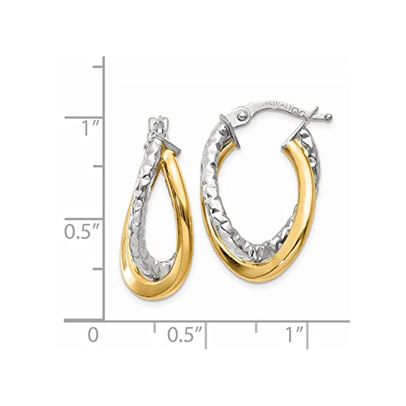 Mia Diamonds 14k White Gold Polished//Textured Post Hoop Earring