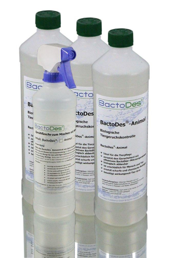 Désodorisant BactoDes Animal - Désodorisant concentré à diluer (au moins double quantité de solution d'usage)-Avecflacon de mélange-Élimine les odeurs d'urine d'animaux, de chat, de chien-Un véritable destructeur d'odeur pour supprimer les odeurs de