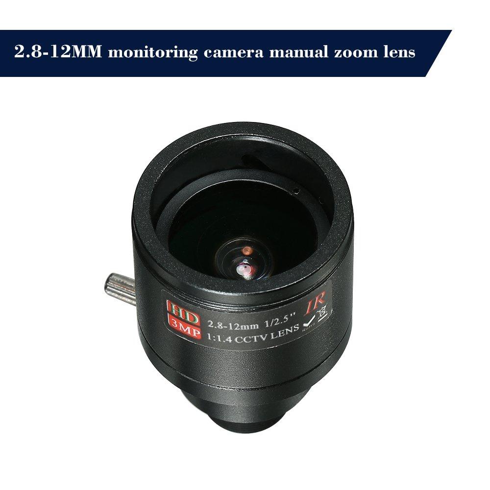 OWSOO CCTV Security Camera Lens M12 HD 2.8-12mm 3 Megapixel F1.4 Manual Focus Zoom Varifocal CCTV MTV IR Lens Fixed Iris for CCTV Security Camera (No IR filter)