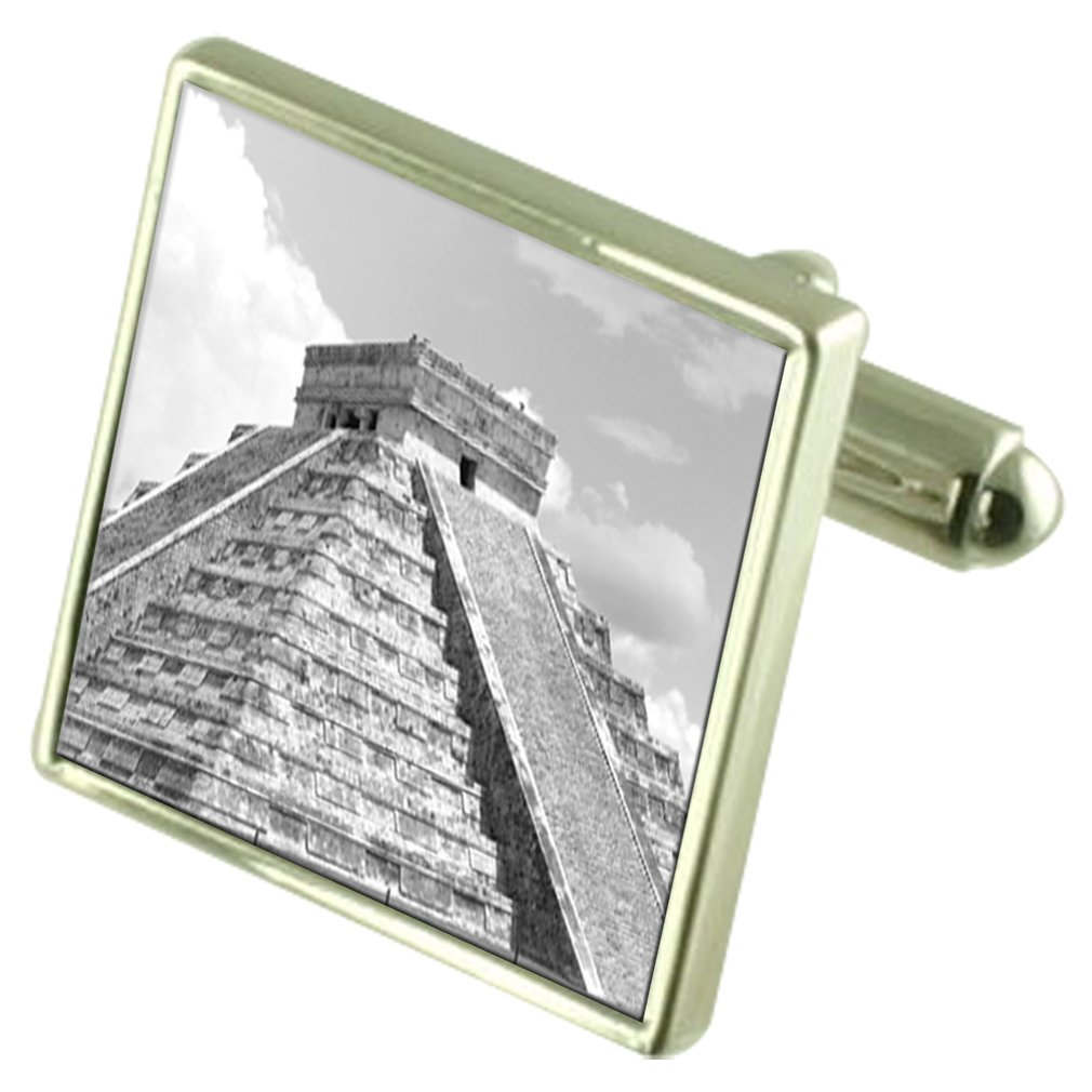 Select Gifts Mexico El Castillo Temple Sterling Silver Cufflinks Optional Engraved Box