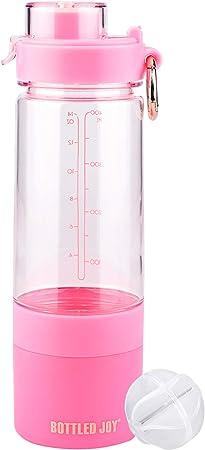 BOTTLED JOY Shaker Botella de Proteína Shaker Botella para Energía Polvo Agua Shaker Botella con Compartimentos de Almacenamiento para Pastilla, ...